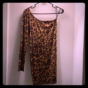 One Sleeved Leopard Dress